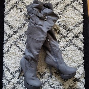 Charlotte Russe Over the Knee Gray Boot